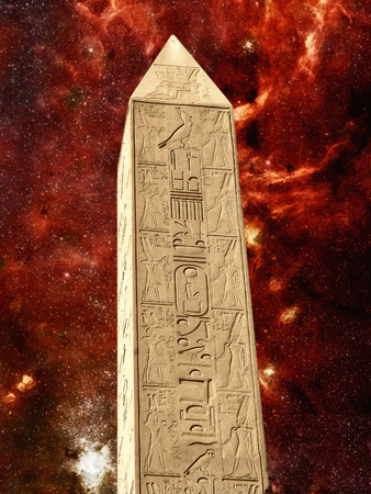 galactic center: Photo-montage of monolith in the temple of Karnak and infrared Galactic Center as background Elements of this image furnished by NASA Stock Photo