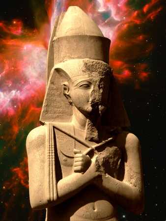 photomontage: Photo-montage of statue of Pinedjem in Karnak and Butterfly Nebula as background Elements of this image furnished by NASA Stock Photo