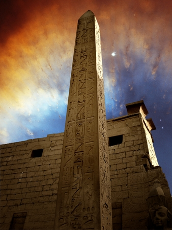 Monolith: Photo-montage of monolith in the temple of Luxor and Ring Nebula as background Elements of this image furnished by NASA Stock Photo