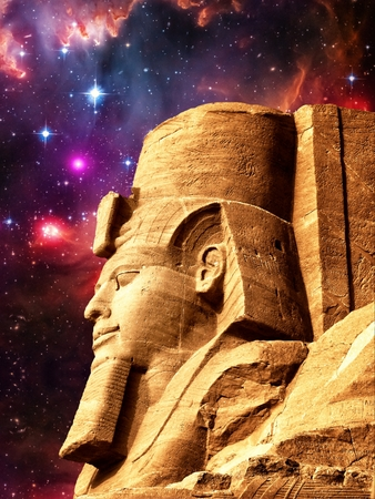 photomontage: Photo-montage of Ramses II statue in Abu Simbel and Small Magellanic Cloud as background Elements of this image furnished by NASA Stock Photo