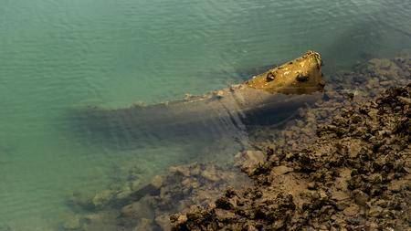 sunken boat: Sunken old fishing boat detail