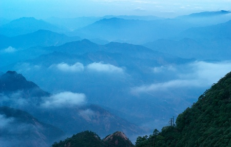 world natural heritage: The cloud and mist of Sanqingshan mountain - Filming in  Jiangxi, China.Sanqingshan has been listed as World Natural Heritage