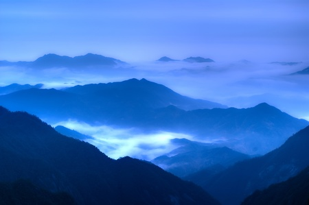 world natural heritage: The cloud and mist of Sanqingshan mountain - Filming in  Jiangxi, China.The Sanqingshan has been listed as World Natural Heritage Stock Photo