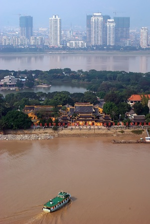 Development of a small city in China - New buildings and environmental pollution.Taken in Wenzhou City, China 免版税图像