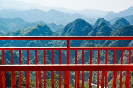 Observation deck and the landscape - In the ZiYuan county, Guangxi, China has abundant tourism resources