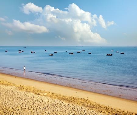 Boats moored in the bay - Taken in Hainan Island, China -  Taken in Hainan Island, China
