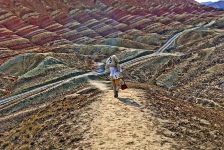 landform: Danxia landform Photographed in Baiyin, Gansu Province, China
