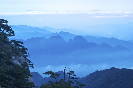 world natural heritage: The Sanqingshan landscape of the world natural heritage, Taken in China, Jiangxi, Sanqingshan Mountain. Stock Photo