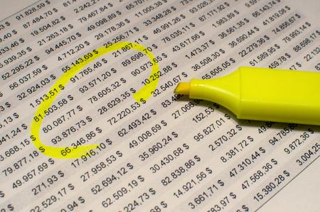 マーカーで Excel スプレッドシート 写真素材