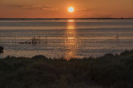 Sunrise at Delta de lEbre, Tarragona, Catalonia, Spain.