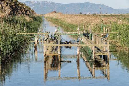 Fishing nets in Delta de lEbre, Tarragona, Catalonia, Spain. Stock Photo