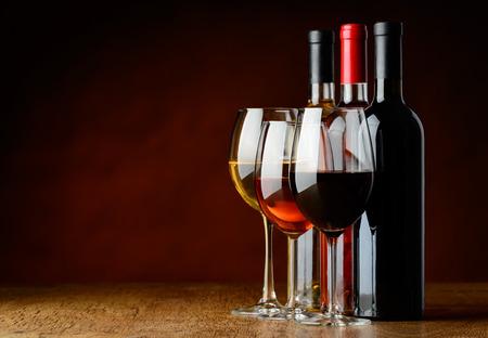 sorts: three sorts of wine Stock Photo