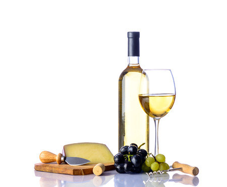 white wine, cheese and grapes isolated on white background with reflections