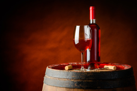 Rose wine in a bottle and wineglass