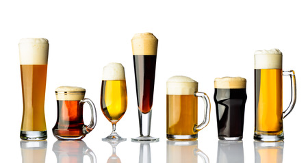 types of glasses: Different types of beer in glasses isolated on white background Stock Photo
