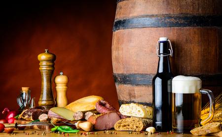 rustic food: Food and Beer in a rustic cellar