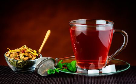stillife: Red Tea in Tansparent Glass Cup  in Still Life