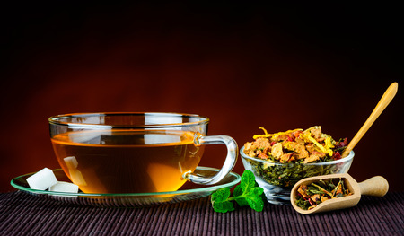 stillife: Traditional cup of tea with died fruit ingredients and mint leaves in still-life Stock Photo
