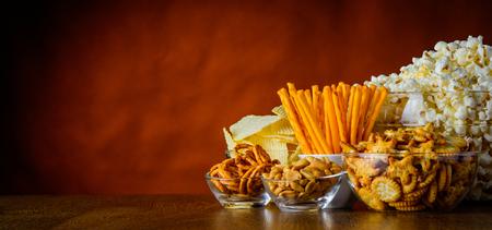 junkfood: Unhealthy Junk-food, salty-snacks, popcorn salty-crackers with copy-space