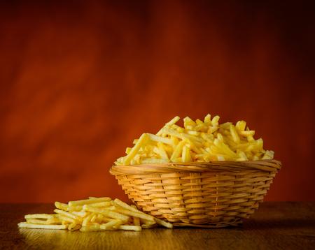 junkfood: Potato sticks junk-food in still life