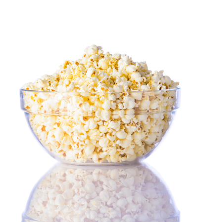bowls of popcorn: Glass Bowl of Popcorn isolated on white background