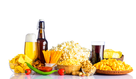 junkfood: Bottle and Glass Beer with Junk-Food on white background