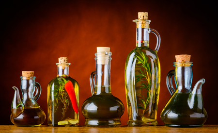 Cooking Oil in different shaped bottles Stock Photo - 54079558