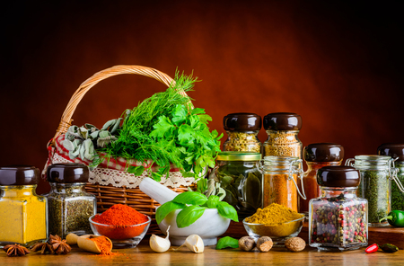 food basket: Cooking ingredients and spices, herbs and seeds Stock Photo