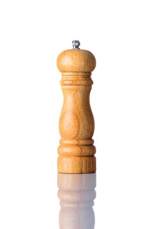 kitchen utensil: Wooden salt mill kitchen utensil isolated on white background