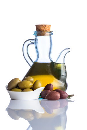 extra virgin: Bottle of Olive Oil and Extra virgin oil on white background with reflection