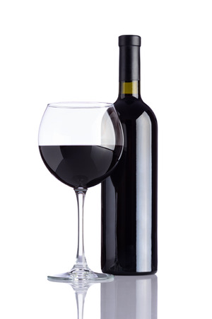 redwine: Wineglass and Bottle dark red wine isolated on white background