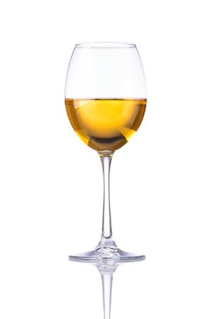 Wineglass white wine isolated on white background with reflection Stock Photo