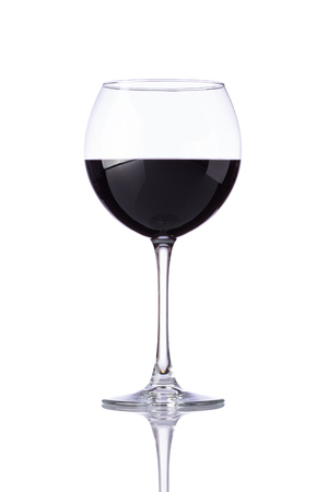 Wine glass with red wine isolated on white background Stock Photo