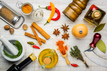 Spices, Food Seasoning and Cooking ingredients with cooking utensils Stock Photo - 54097303