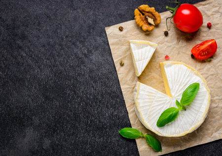 french cuisine: French Cuisine Soft Cheese. Brie Cheese with Copy Space