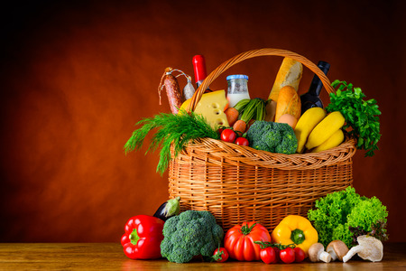 brea: Basket full with Healthy organic food and copy space