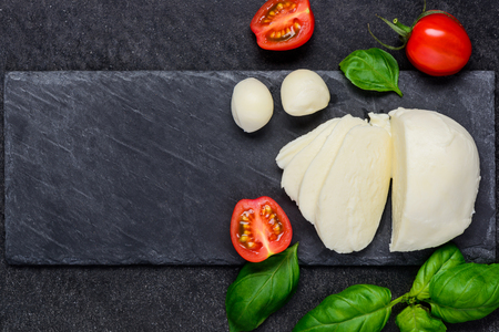 copy  space: Juicy Mozzarella cheese balls and copy space Stock Photo