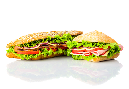 meant: Sandwich and Burger with Vegetables and meat isolated on white background