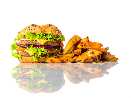 fried potatoes: Burger Sandwich with Fried Potatoes or French Fries, isolated on white background