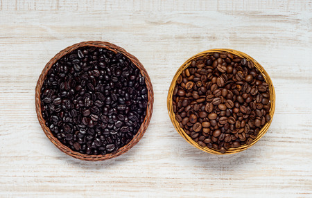 Top View of Black and Brown Roasted Coffee Beans Stock Photo