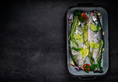 space   area: Two Fishes prepared for cooking and with Copy Space Area