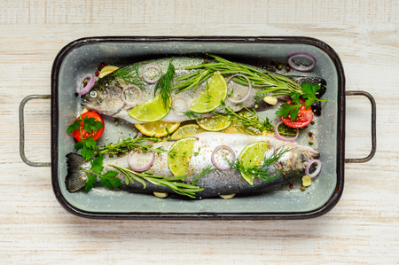 spiced: Two Trout Fishes seasoned and spiced prepared to be cooked