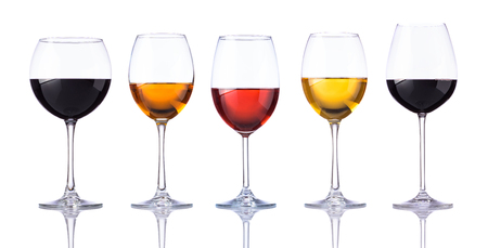 Wine Glasses with rose, red and White Wine isolated on white background