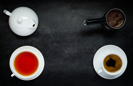 coffeepot: Cup of Tea and Coffee with Coffeepot and Teapot on Copy Space Stock Photo