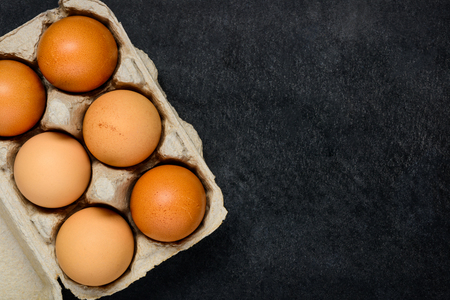 egg box: Egg box with Organic chicken Eggs and with Copy Space Area