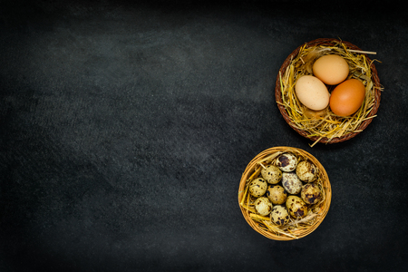 quail nest: Organic Quail and Chicken Eggs in Nest and on Dark Background with Copy Space Area