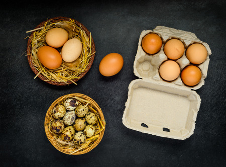 quail nest: Quail and Chicken Eggs in Box and Nest