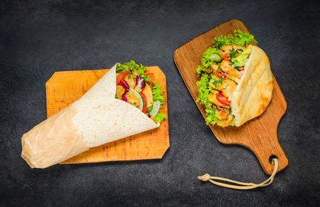 Shawarma and Turkish Doner Kebab Sandwich with meat and Vegetables