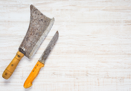 cleaver: Top View of Meat Cleaver and Butcher Knife with Copy Space Text Area