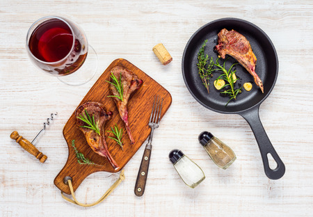 Grilled Lamb Chops Ribs with Glass of Red Wine